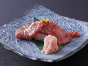 A5等級飛騨牛の炙り寿司